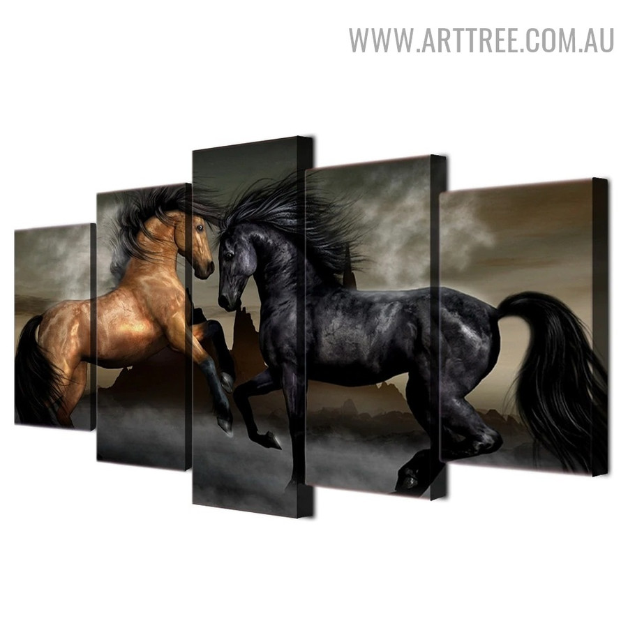 Horses Landscape Animal Modern 5 Piece Large Canvas Wall Art Image Canvas Print for Room Getup