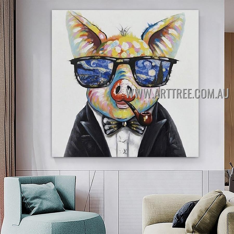 Hog with Cigar Animal Artist Handmade Heavy Texture Contemporary Art Painting for Room Drape