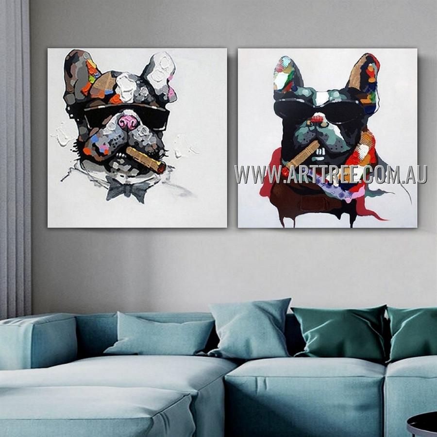 Pooch Cigar Mafia Animal Modern Heavy Texture Artist Handmade 2 Piece Multi Panel Canvas Oil Painting Wall Art Set For Room Adornment
