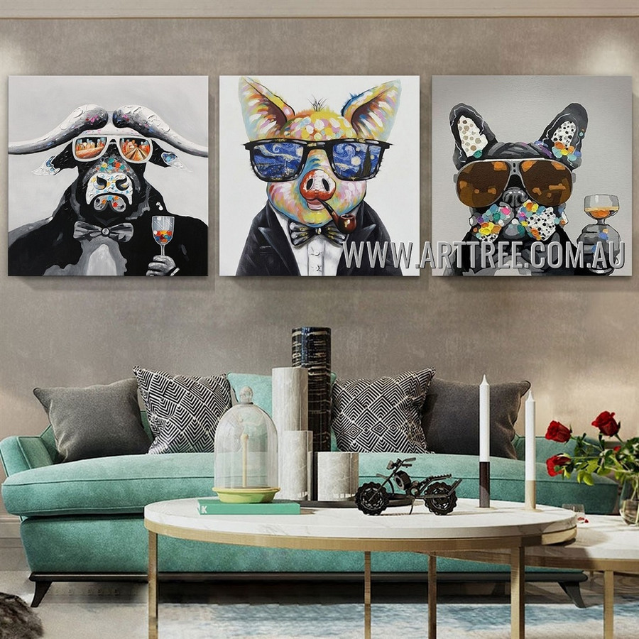 Dapper Beast Animal Contemporary Artist Handmade Heavy Texture 3 Piece Multi Panel Canvas Painting Wall Art Set for Room Garnish