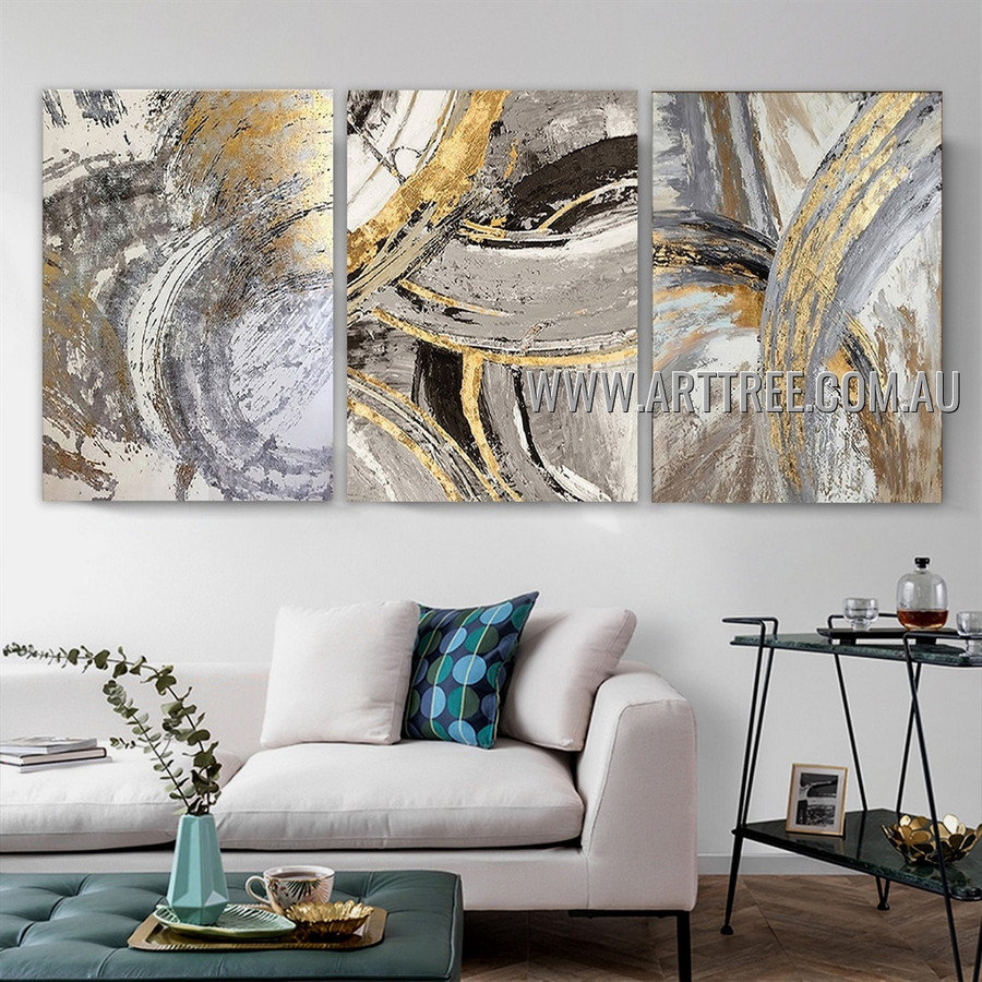 Colorful Brush Strokes Abstract Modern Heavy Texture Artist Handmade 2 Piece Multi Panel Canvas Painting Wall Art Set for Room Adorn