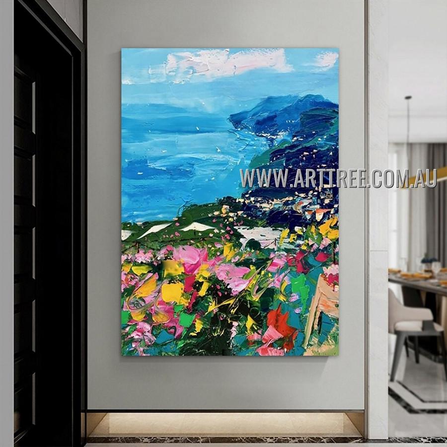 Seashore Mountain Landscape Abstract Heavy Texture Artist Handmade Contemporary Art Painting for Room Flourish
