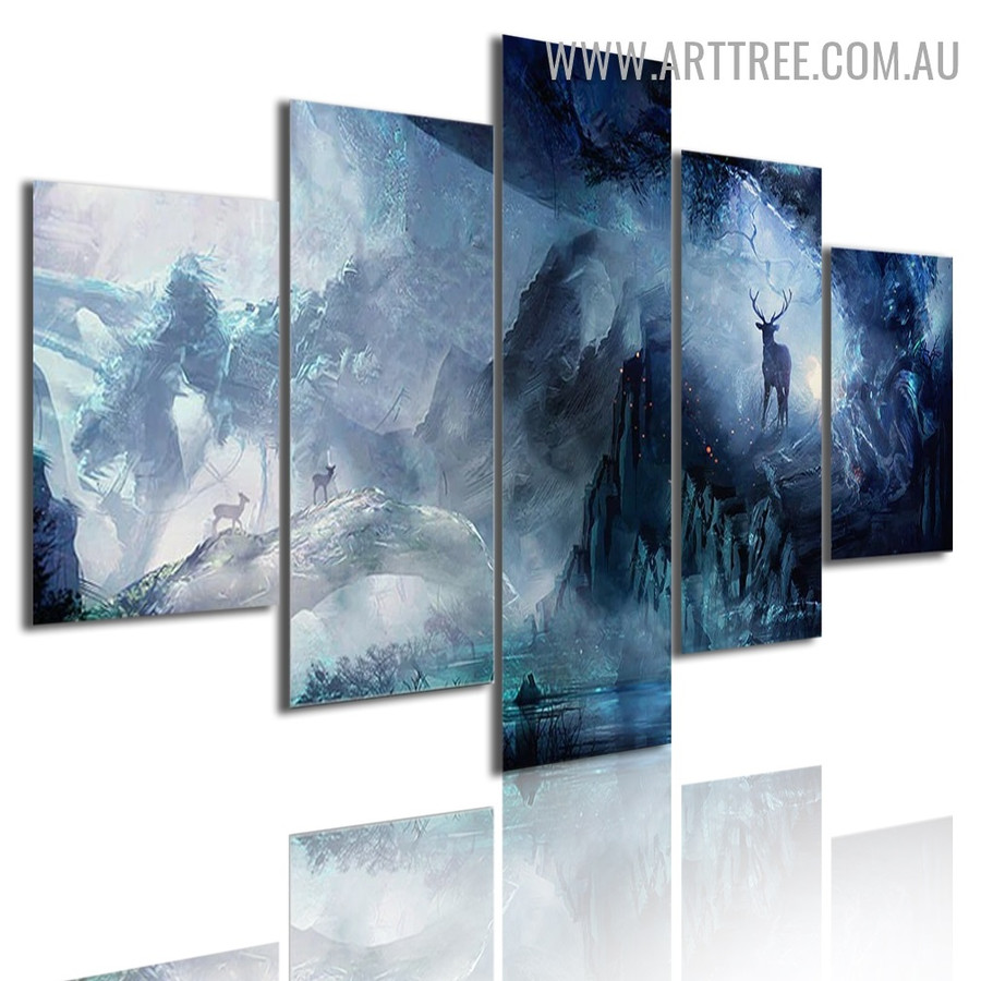 Deer Mountains Landscape Modern 5 Piece Multi Panel Animal Image Canvas Painting Print for Room Wall Molding