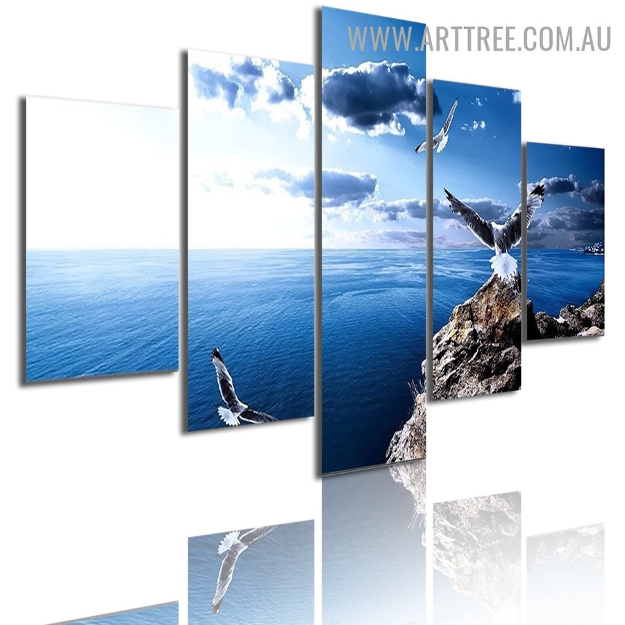 Blue Sky Eagle Bird Modern Naturescape 5 Piece Split Artwork Image Canvas Print for Room Wall Garniture