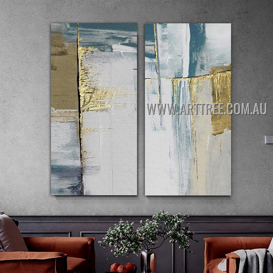 Blob Taints Abstract Modern Heavy Texture Artist Handmade 2 Piece Multi Panel Wall Art Set Painting For Room Decoration