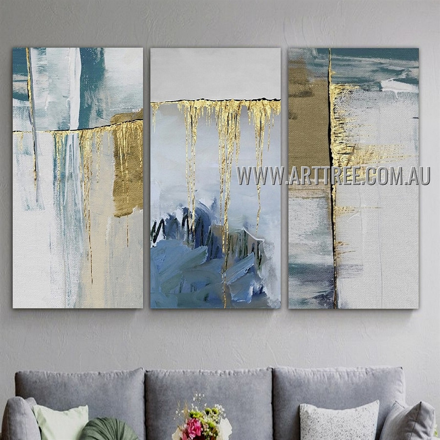 Bizarre Smudges Modern Abstract Heavy Texture Artist Handmade 3 Piece Multi Panel Wall Art Painting Set for Room Ornament