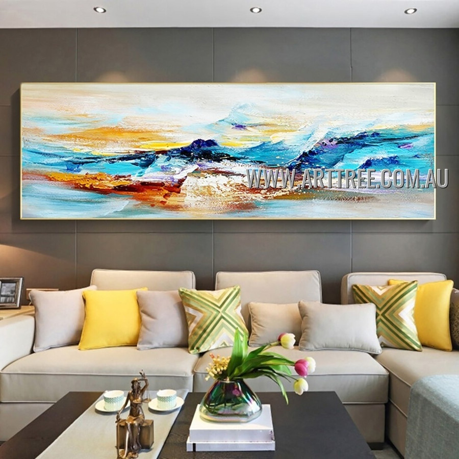 Multicolored Strokes Abstract Heavy Texture Artist Handmade Contemporary Art Painting for Room Drape