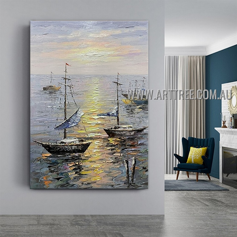 Boat View Abstract Seascape Heavy Texture Artist Handmade Modern Wall Art Painting for Room Ornament