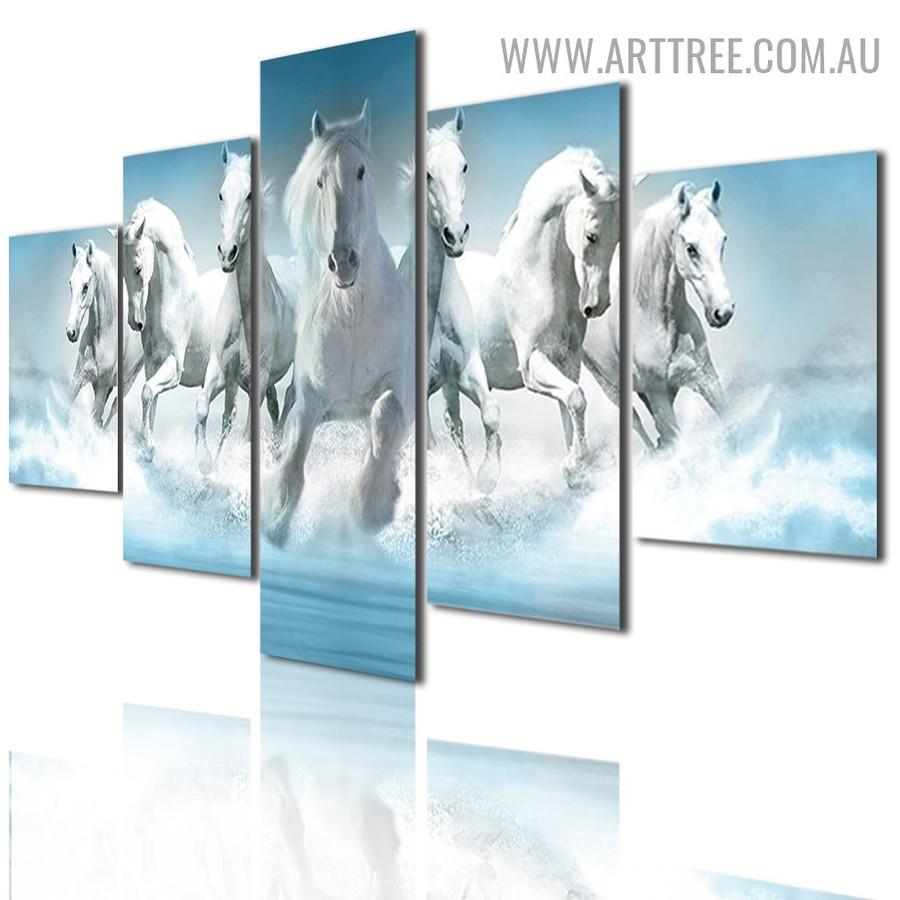 White Horse Sky Landscape Animal Modern 5 Piece Split Artwork Image Canvas Print for Room Wall Onlay
