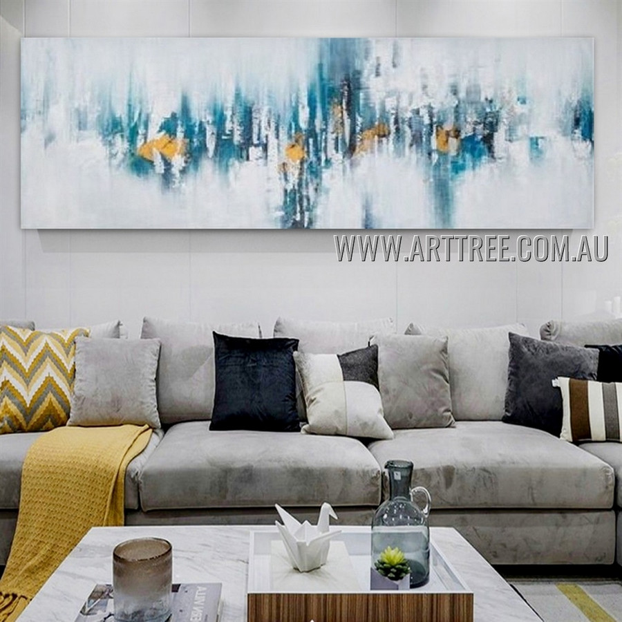 Pied Stain Modern Heavy Texture Artist Handmade Abstract  Acrylic Painting for Room Spruce