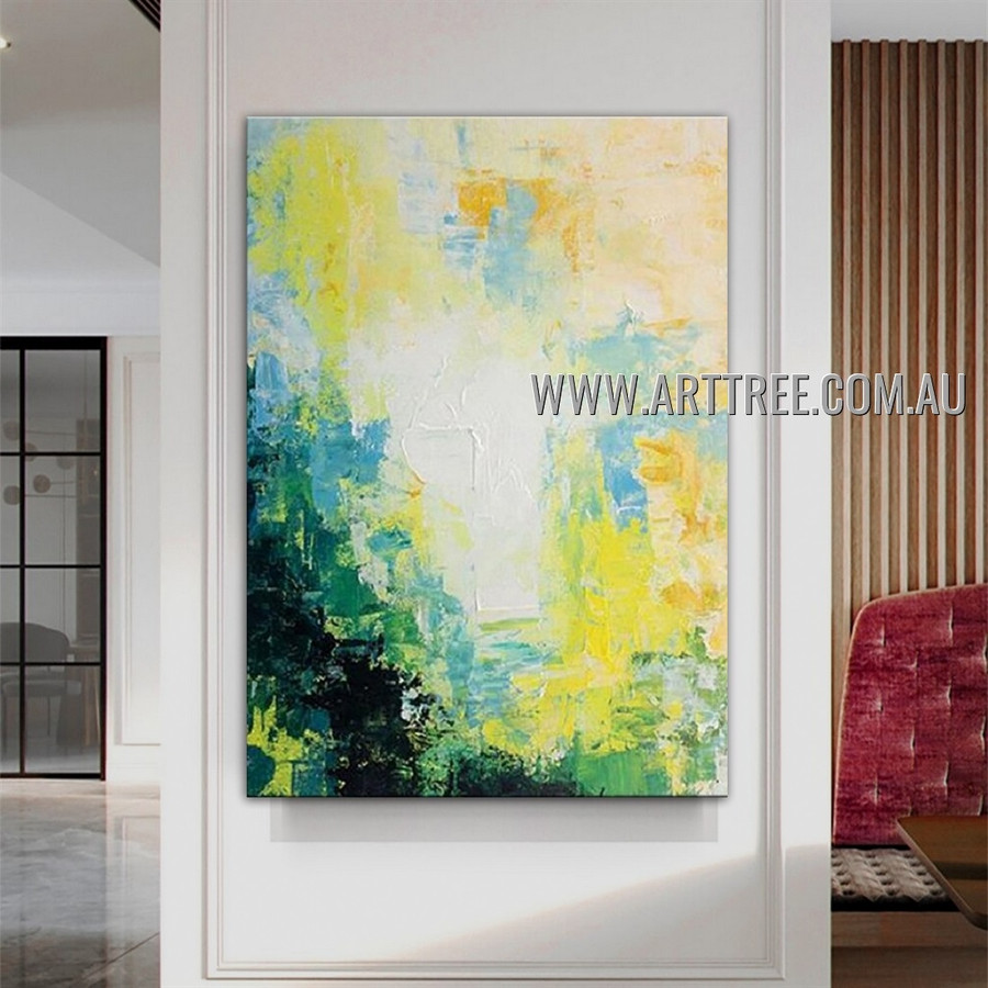 Particolored Attaint Abstract Heavy Texture Artist Handmade Modern Wall Art Painting for Room Ornament