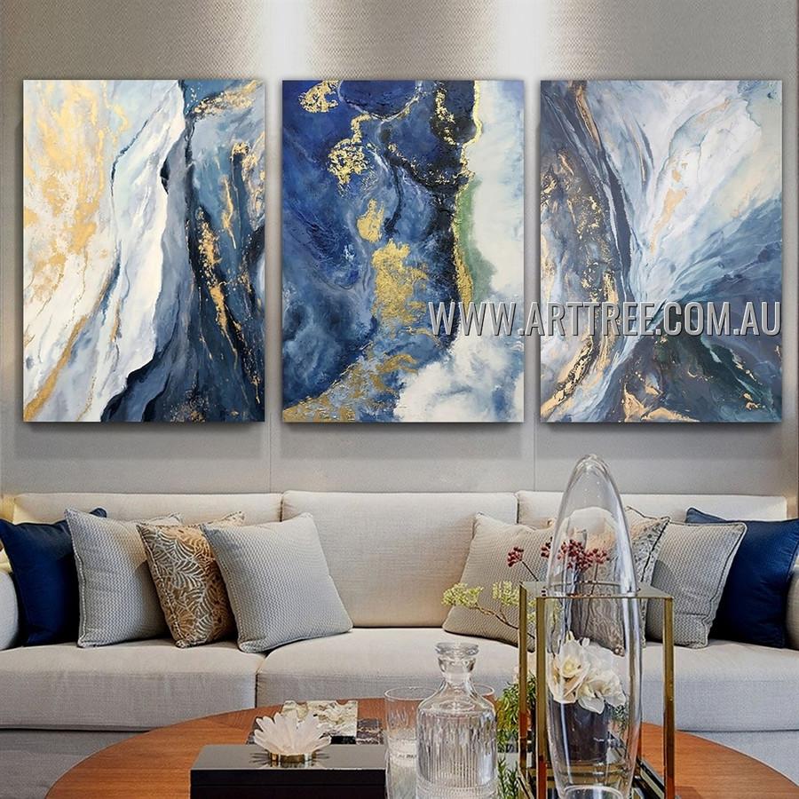 Dapple Splash Design Abstract Contemporary Artist Handmade Heavy Texture 3 Piece Multi Panel Canvas Painting Wall Art Set for Room Garnish