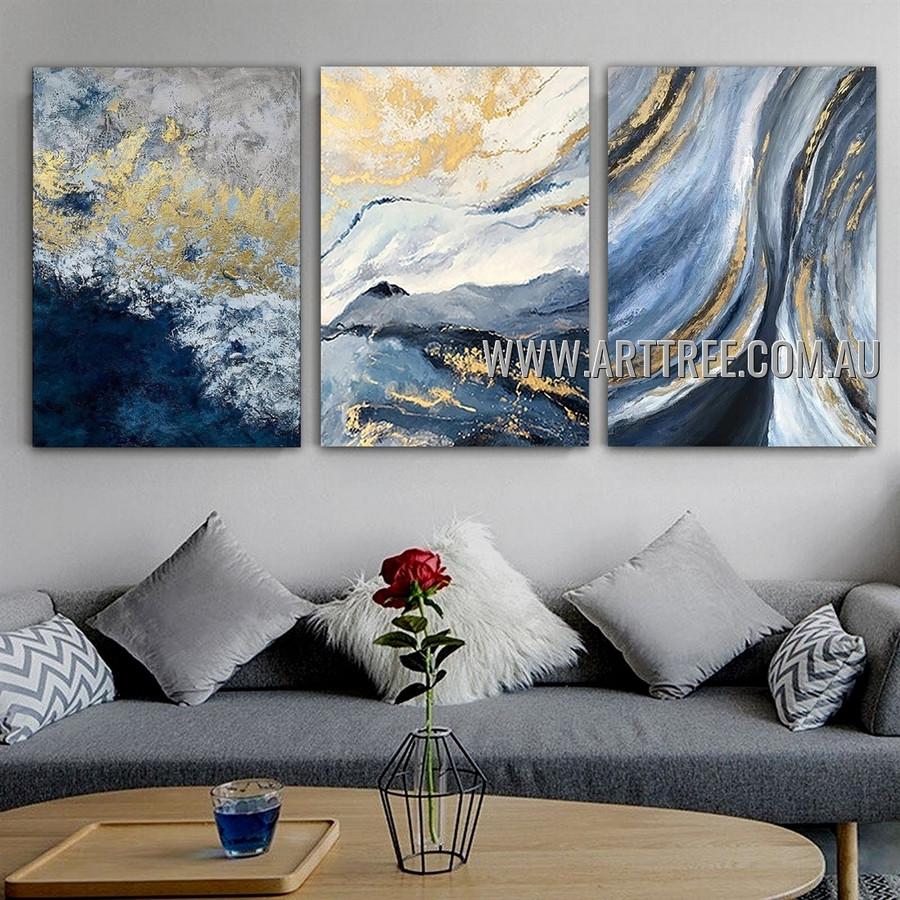 Piebald Smears Abstract Modern Heavy Texture Artist Handmade 3 Piece Split Panel Canvas Wall Art Painting for Room Garniture
