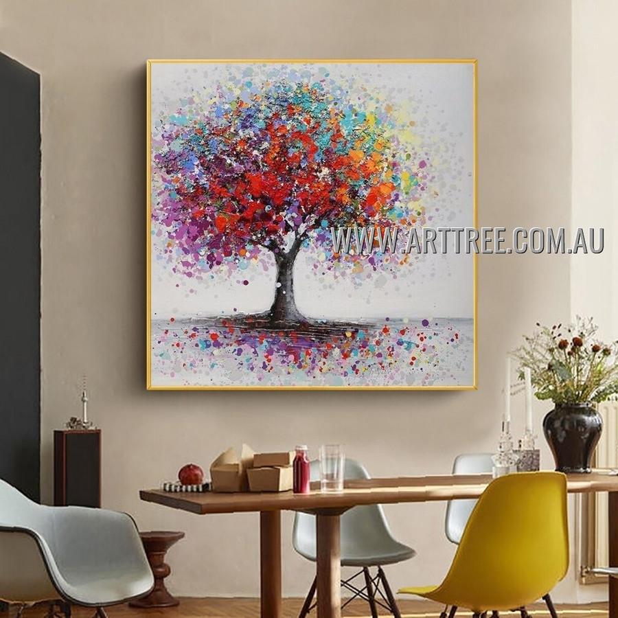 Chromatic Arbor Floral Abstract Heavy Texture Artist Handmade Modern Art Painting for Room Garniture