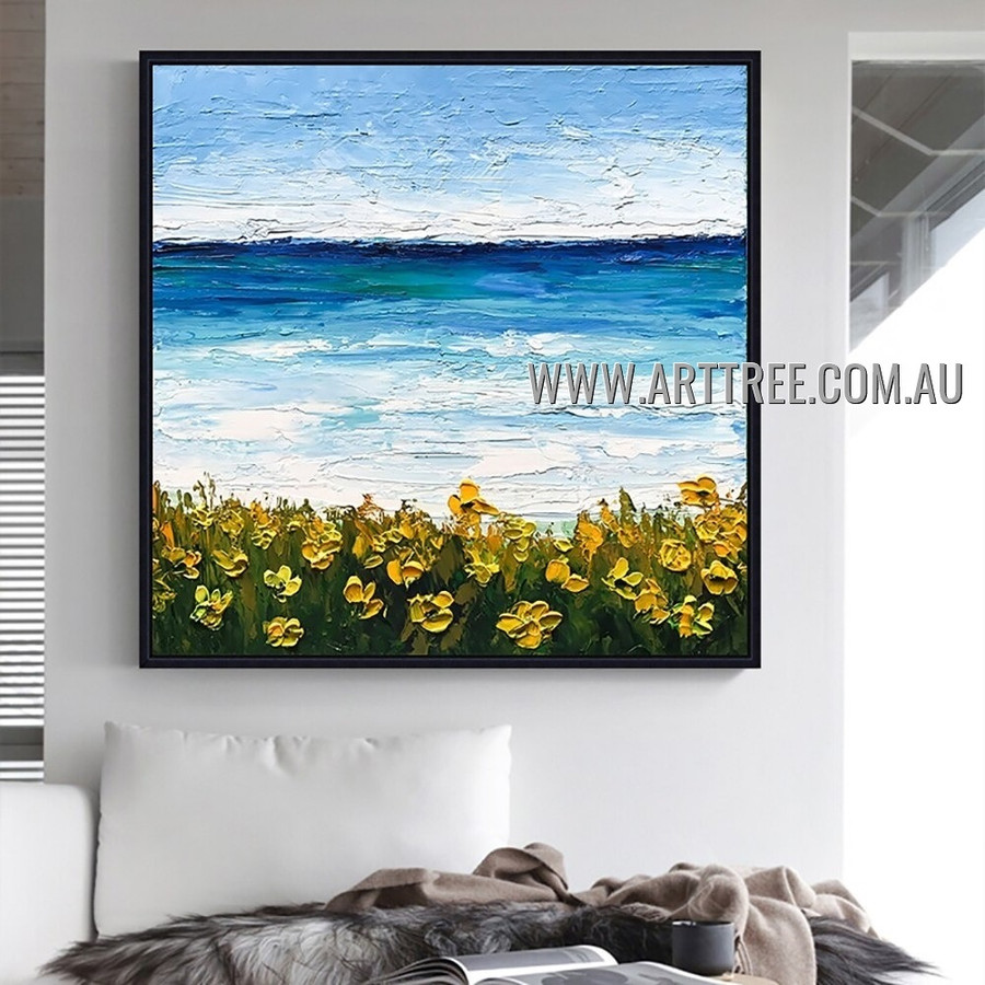 Yellow Flowers Floral Abstract Heavy Texture Artist Handmade Modern Art Painting for Room Adorn