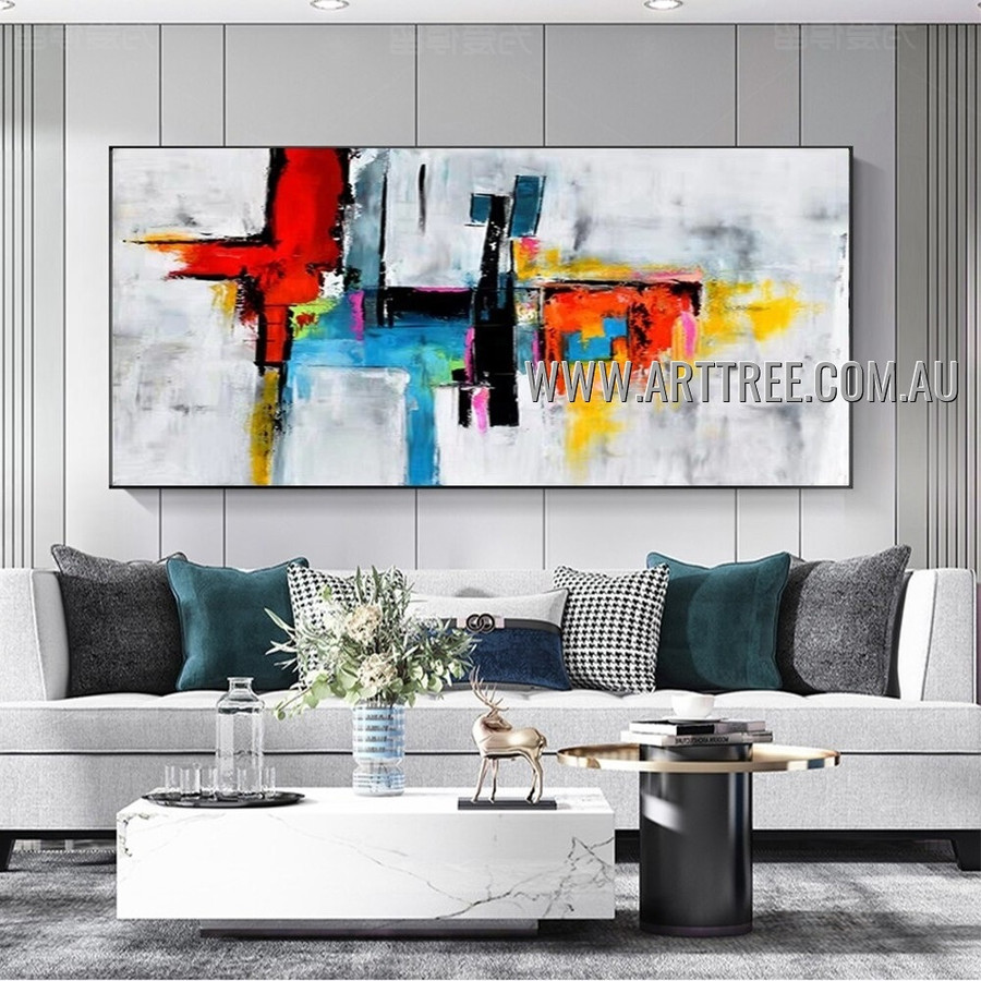 Multicolor Splash Abstract Heavy Texture Artist Handmade Modern Wall Art Painting for Room Adorn
