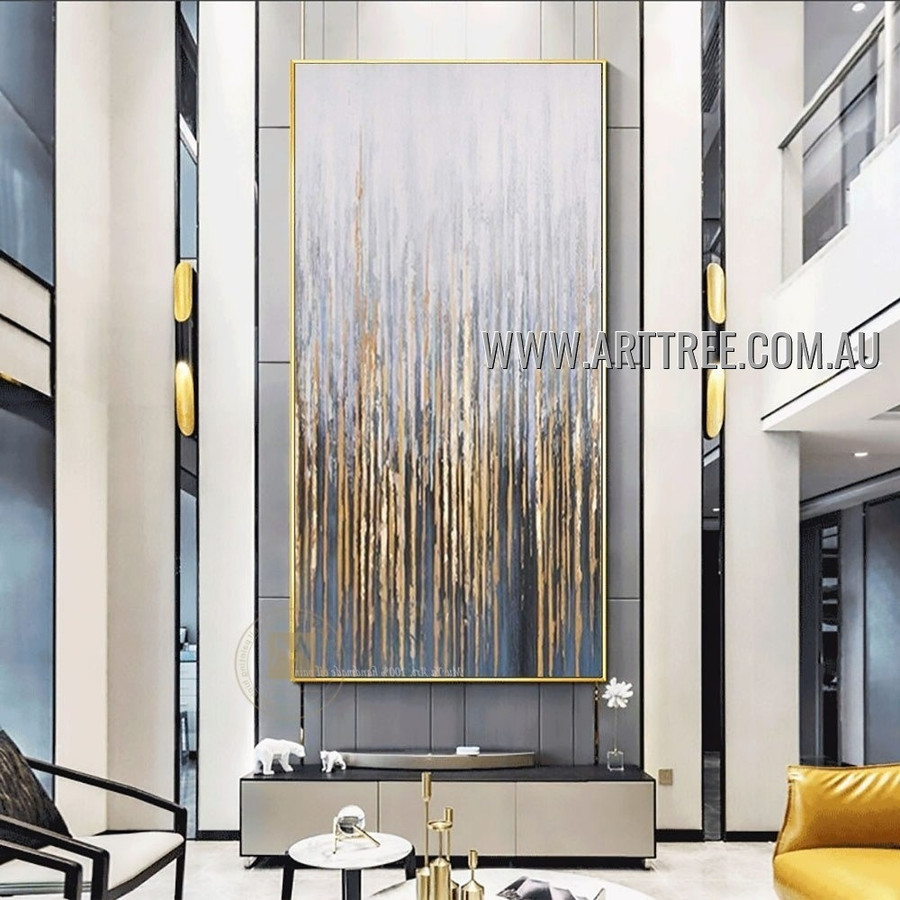 Glossy Streaks Modern Heavy Texture Artist Handmade Abstract Acrylic Painting for Room Outfit