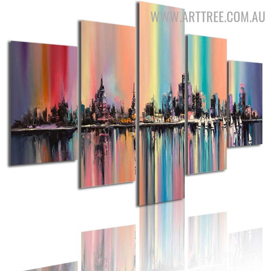 Blob Buildings Ships Modern Landscape Abstract 5 Multi Panel Image Canvas Art Print for Room Wall Ornament