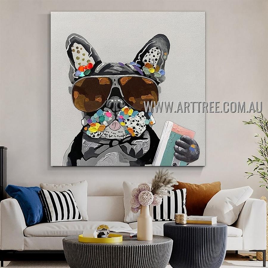 Bulldog with Diary Animal Heavy Texture Artist Handmade Modern Wall Art Painting for Room Decor