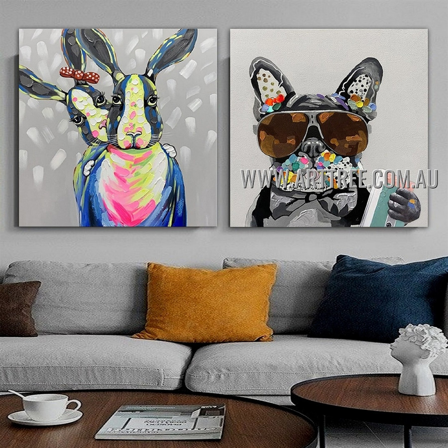 Modern Dog Rabbit Animal Heavy Texture Artist Handmade 2 Piece Split Panel Canvas Painting for Room Adornment