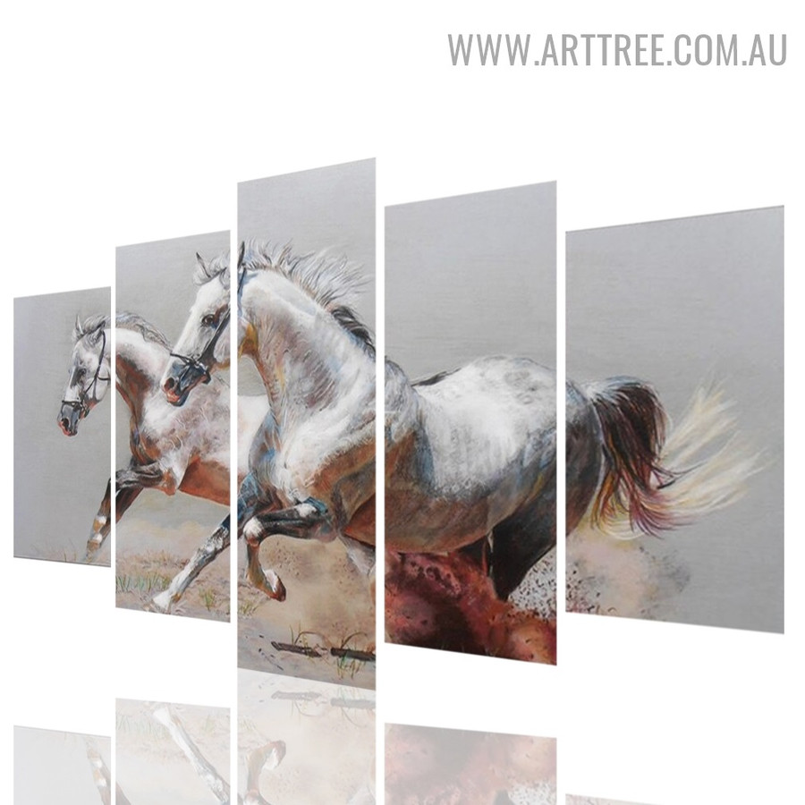 Running Equus Caballus Hose Modern Abstract 5 Piece 0ver Size Animal Artwork Image Canvas Print for Room Wall Garniture