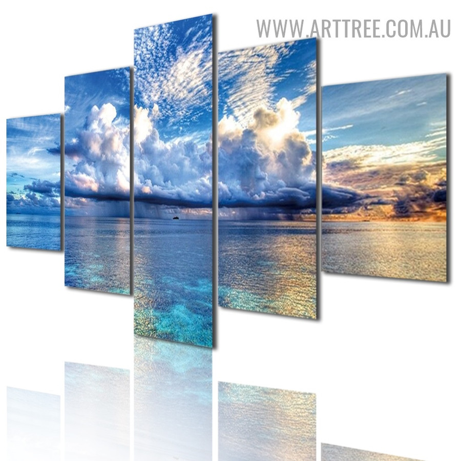 Blue Seaside Water Modern 5 Piece Multi Panel Naturescape Image Canvas Painting Print for Room Wall Decor