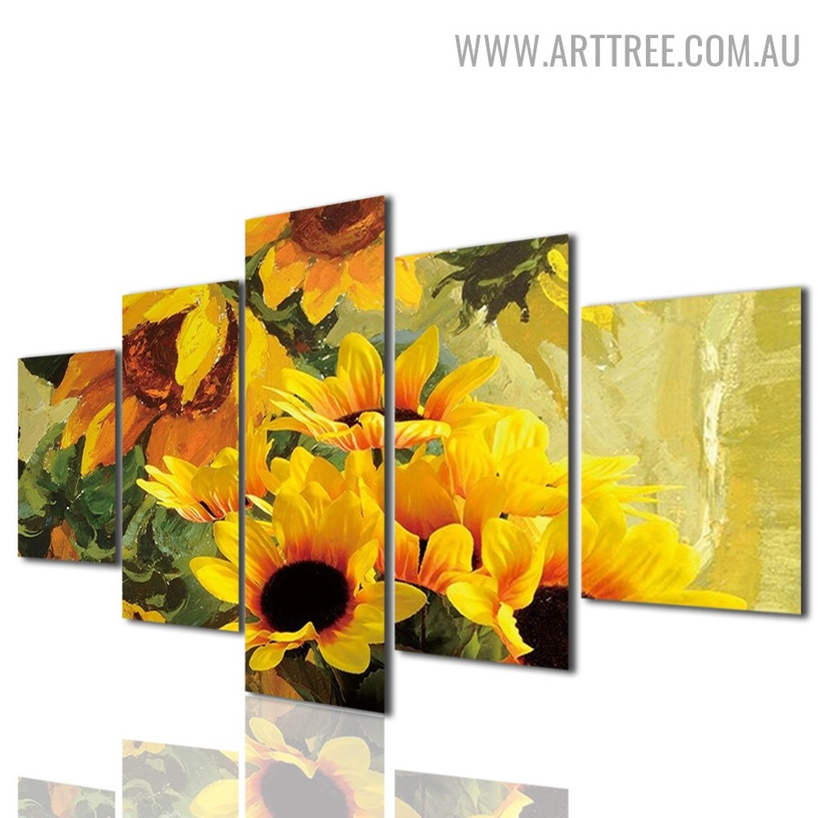 Yellow Sunflowers Leaves Floral Modern 5 Piece Over Size Artwork Image Canvas Print for Room Wall Decoration