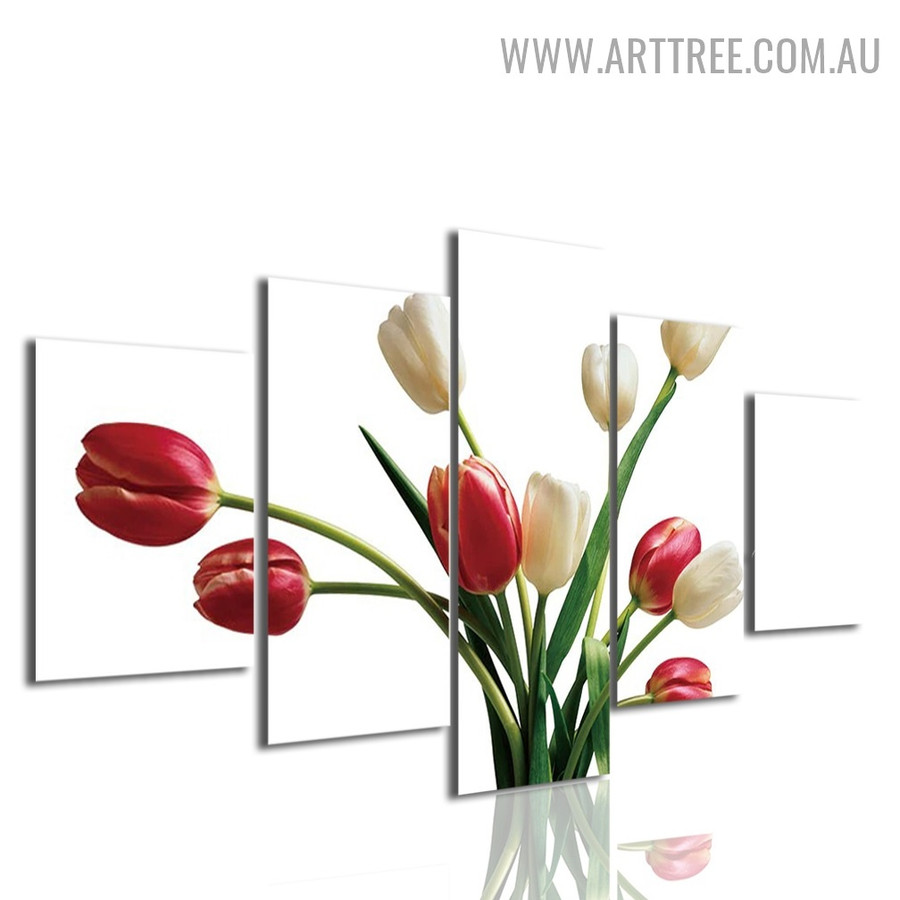 Tulip Flower Floral Modern 5 Piece Split Painting Image Canvas Print for Room Wall Molding