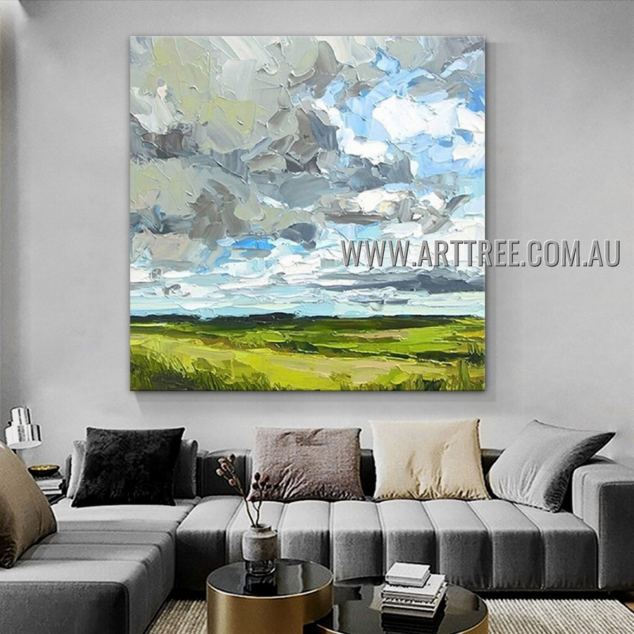 Meadow Modern Abstract Heavy Texture Artist Handmade Landscape Art Painting for Room Spruce