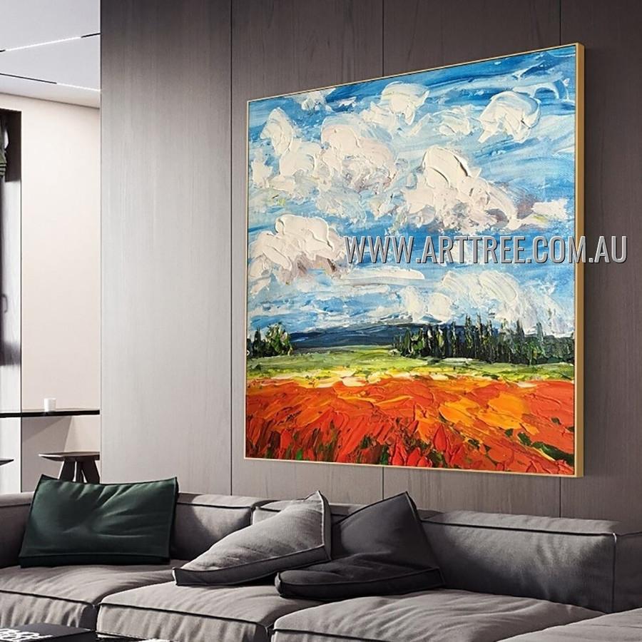 Lea Modern Abstract Heavy Texture Artist Handmade Landscape Art Painting for Room Garniture