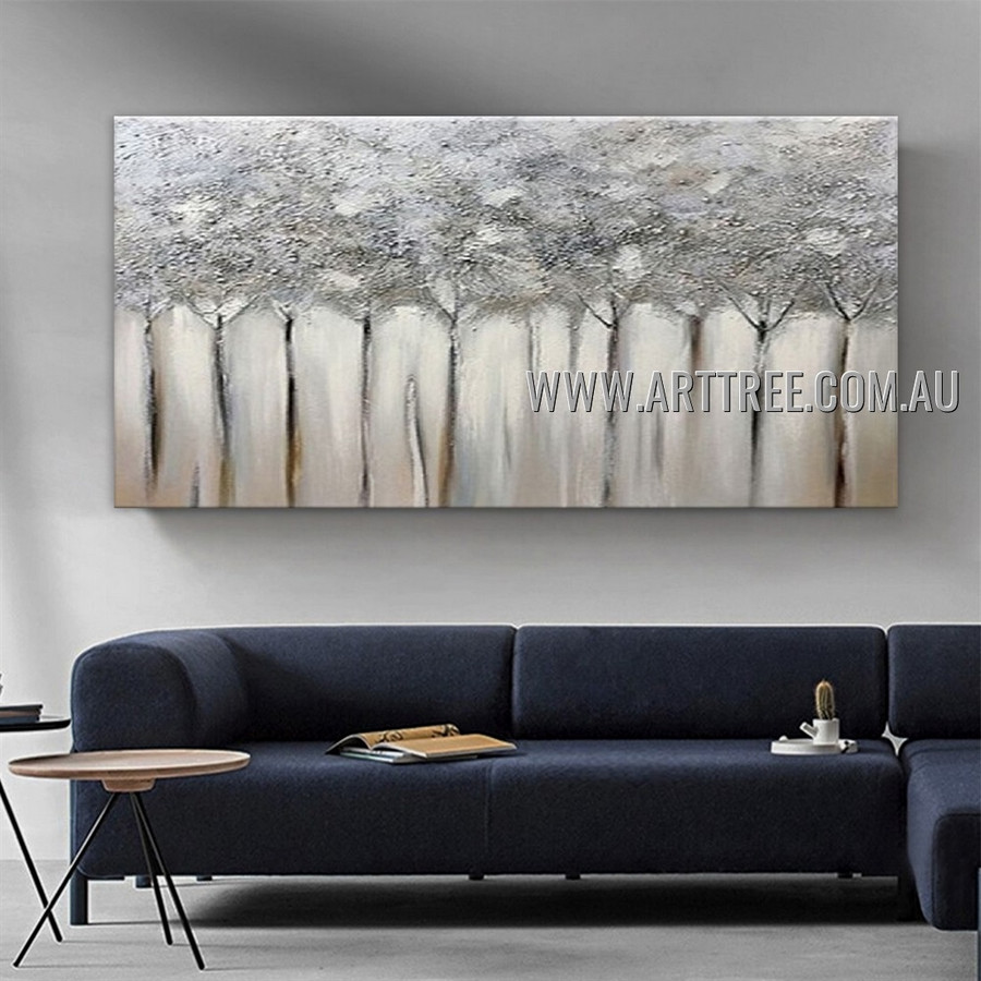 Monochrome Trees Botanical Abstract Heavy Texture Artist Handmade Modern Wall Art Painting for Room Decor