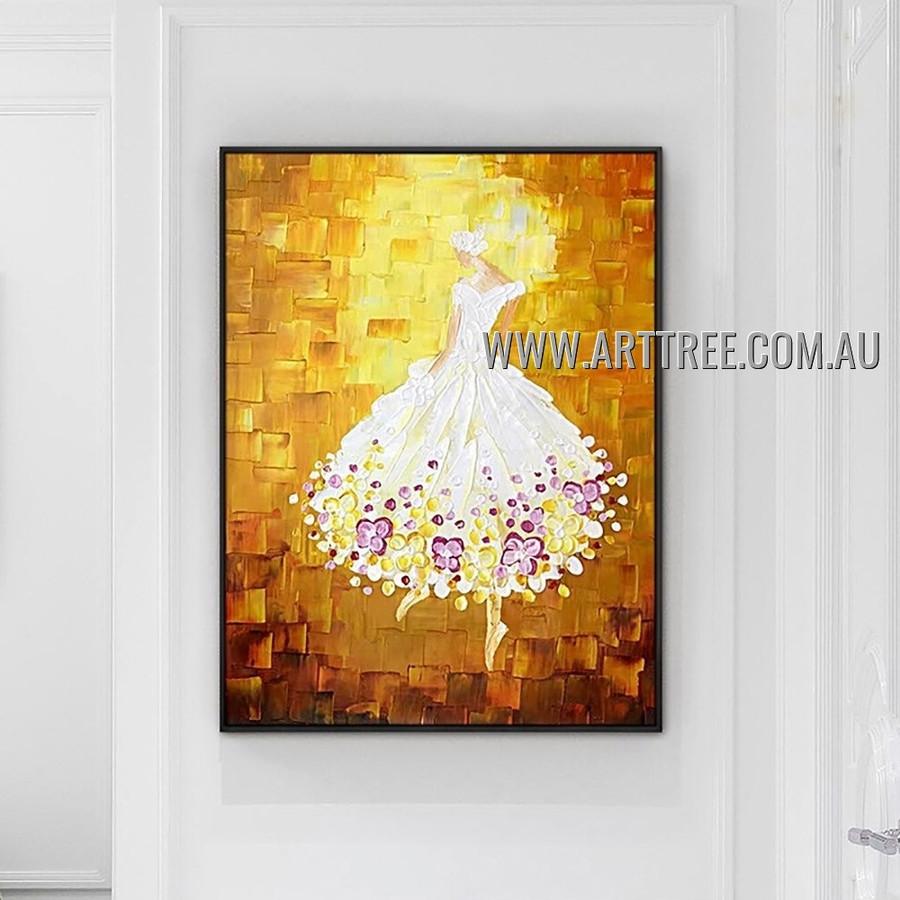 Ballet Dancer Girl Modern Figure Heavy Texture Artist Handmade Abstract Wall Art Painting for Room Garniture