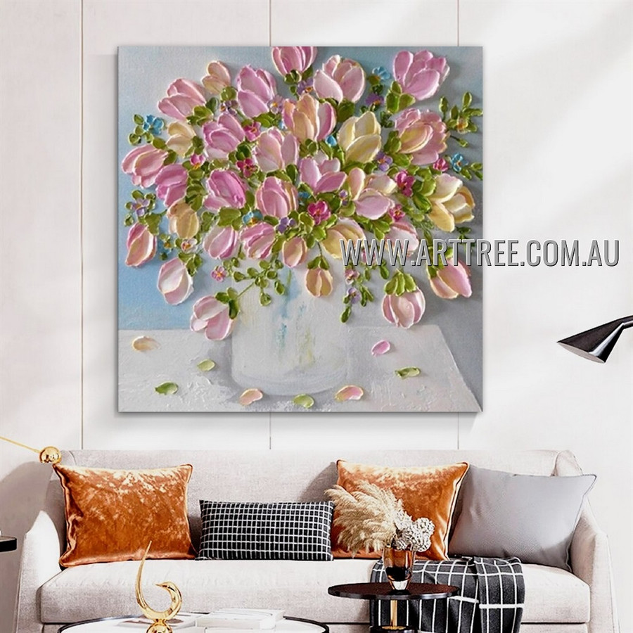 Pink Blossom Vase Floral Abstract Heavy Texture Artist Handmade Modern Wall Art Painting for Room Outfit