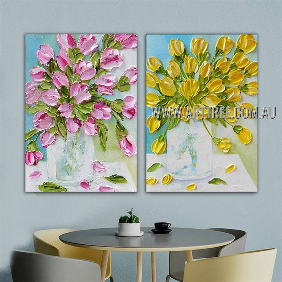 Colored Flower Vase Floral Abstract Heavy Texture Artist Handmade 2 Piece Split Panel Canvas Painting for Room Adornment