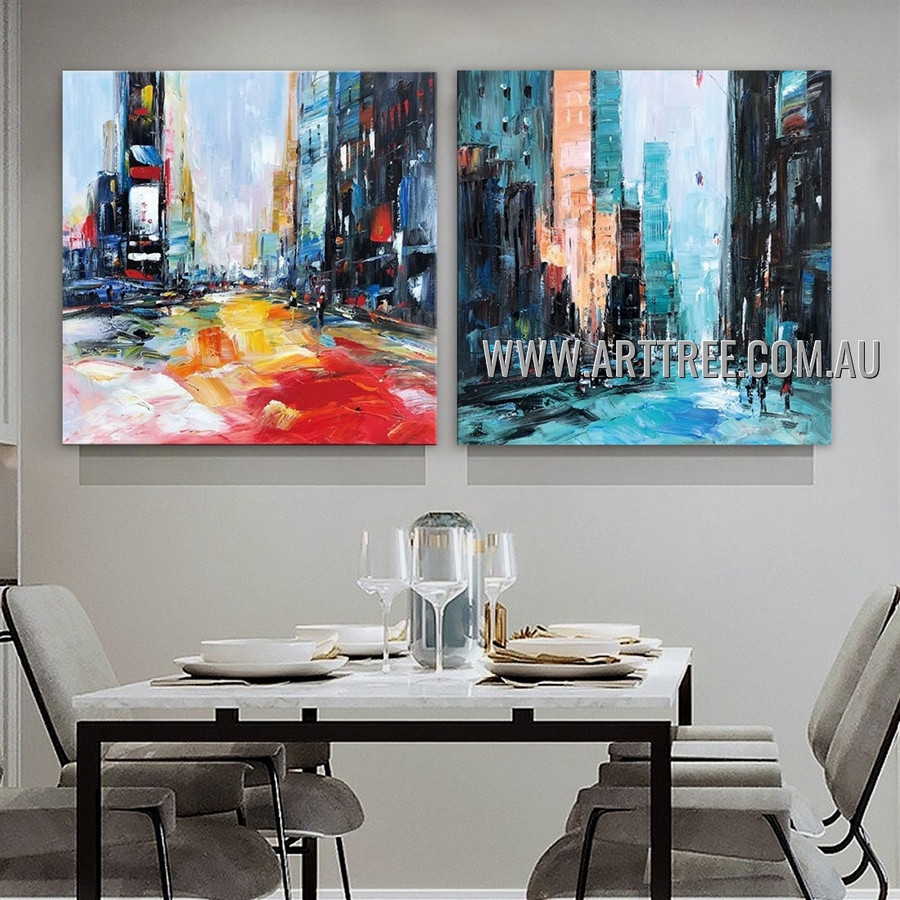 Dapple Cityscape City Architecture Abstract Modern Heavy Texture Artist Handmade 2 Piece Multi Panel Canvas Painting Wall Art Set For Room Ornament