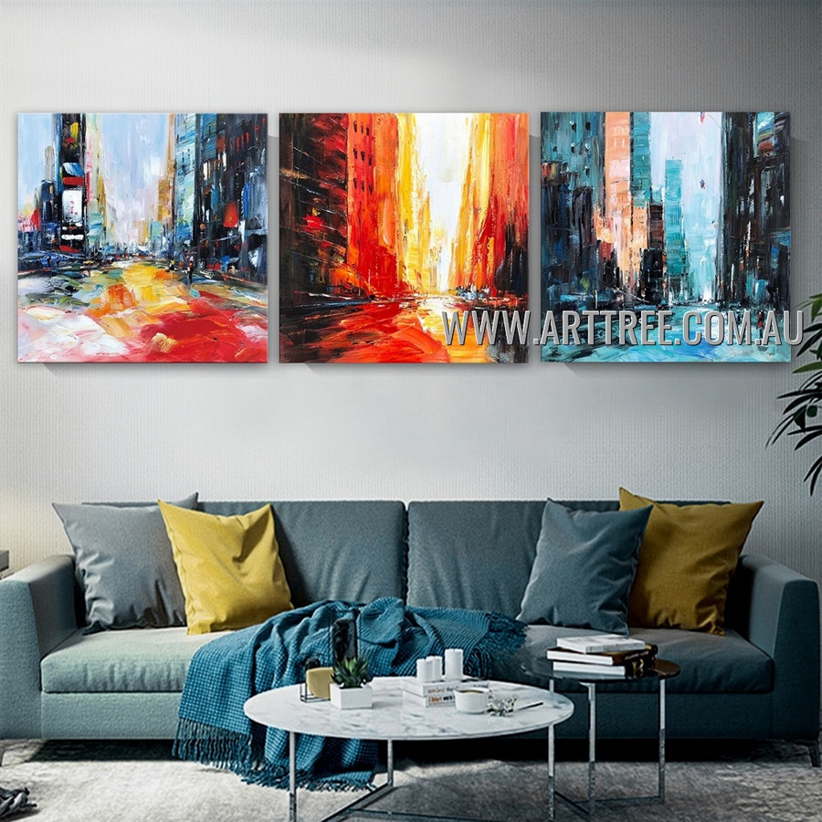 Chromatic Buildings City Architecture Abstract Contemporary Artist Handmade Heavy Texture 3 Piece Multi Panel Canvas Painting Wall Art Set for Room Garnish
