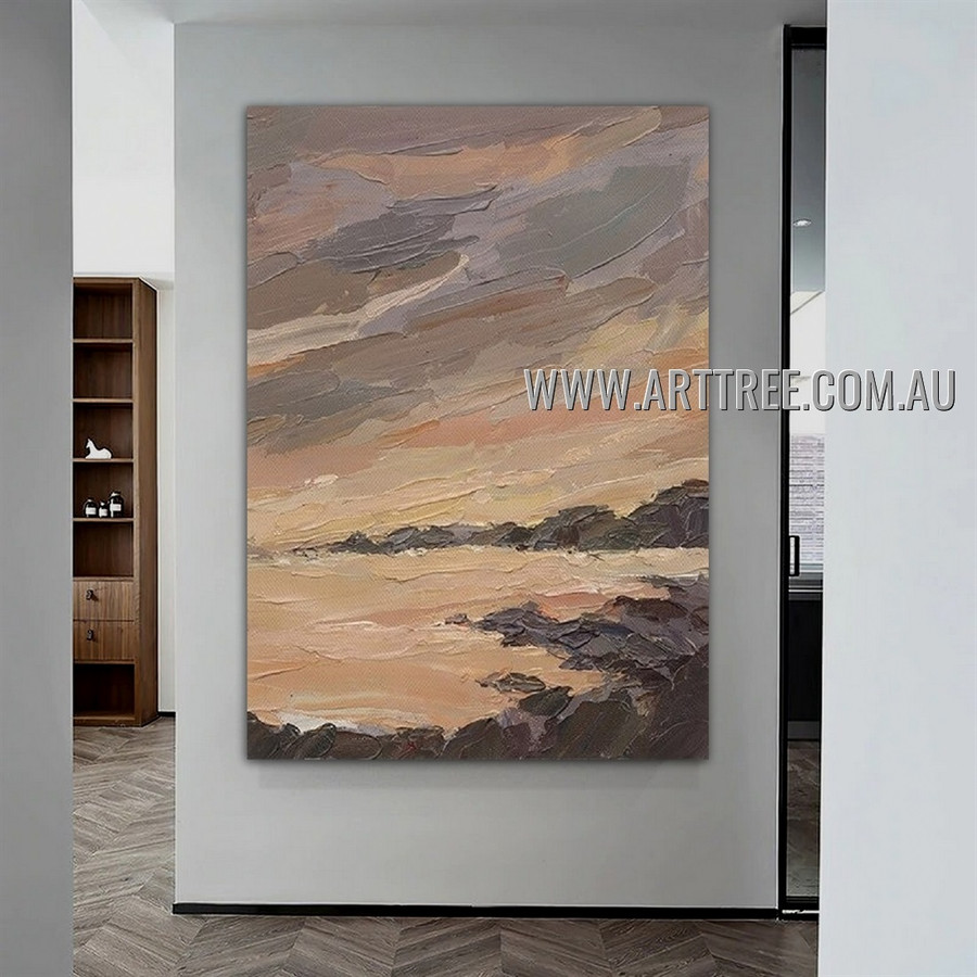 Sea Cliff Abstract Landscape Heavy Texture Artist Handmade Modern Wall Art Painting for Room Spruce