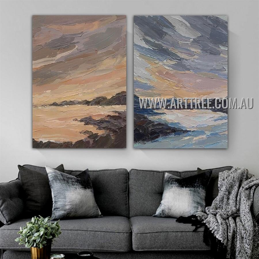 Ocean Rocks Abstract Landscape Modern Heavy Texture Artist Handmade 2 Piece Split Panel Canvas Painting for Room Adornment