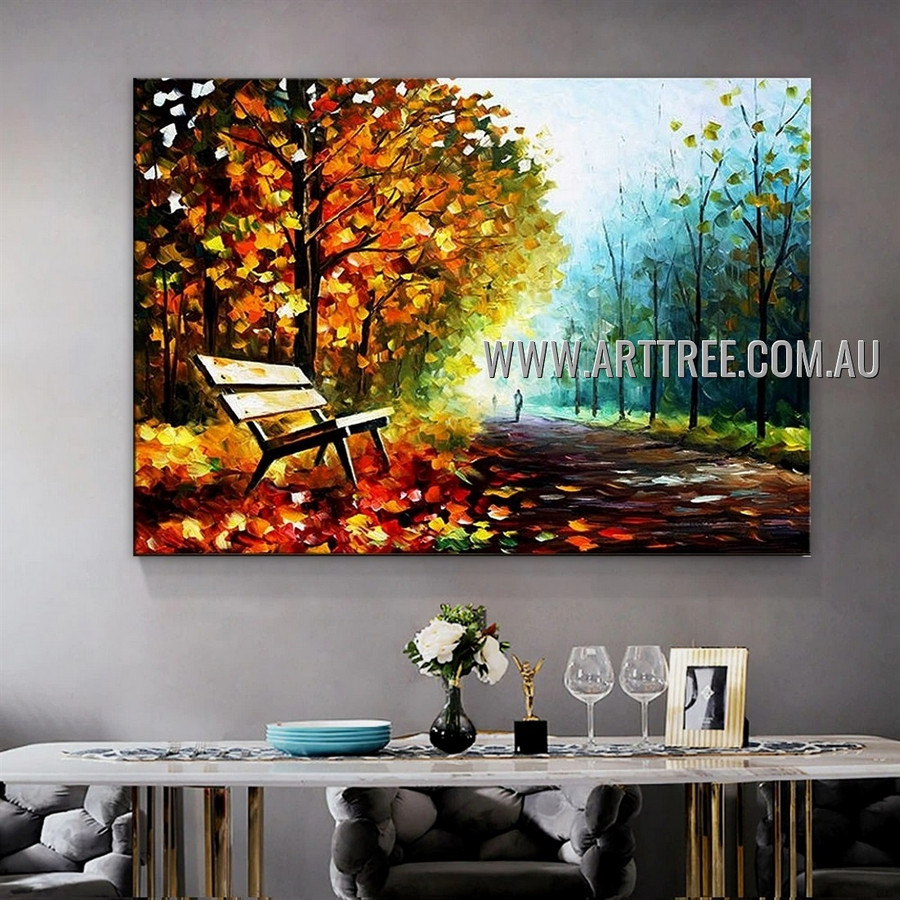 Autumn Park Abstract Landscape Heavy Texture Artist Handmade Modern Wall Art Painting for Room Adornment