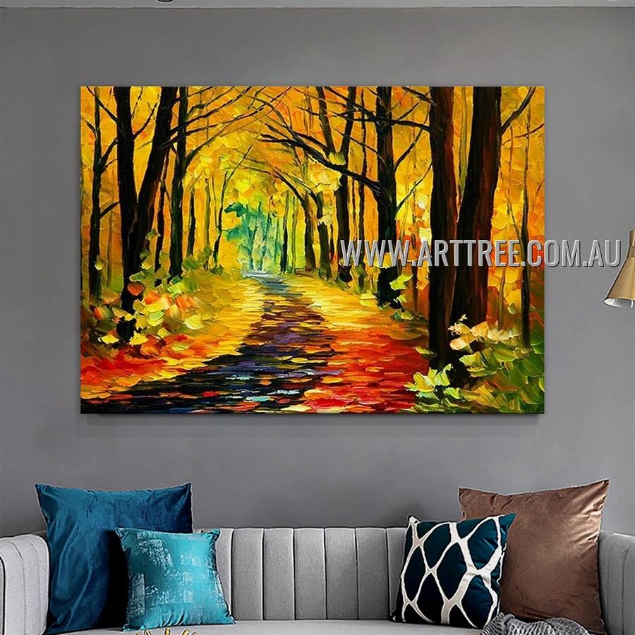 Woods Path Abstract Modern Heavy Texture Artist Handmade Landscape Art Painting for Room Flourish