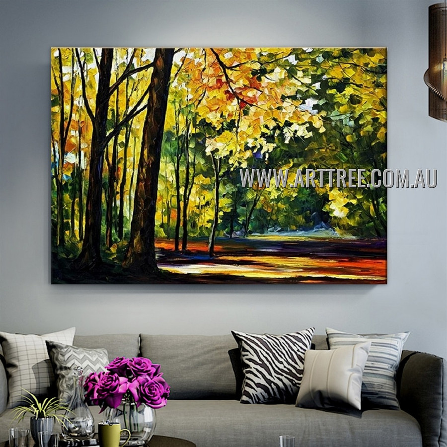 Forest Modern Heavy Texture Artist Handmade Abstract Landscape Painting for Room Adornment