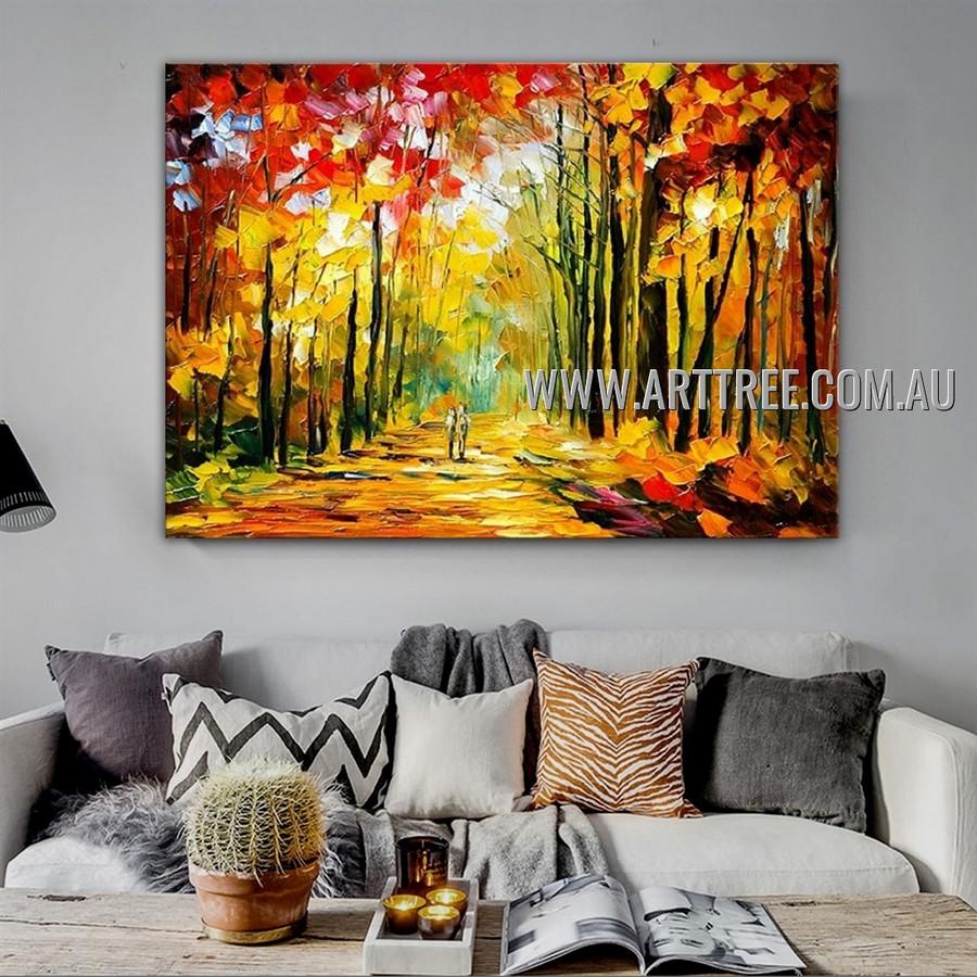 Autumn Fall Landscape Modern Heavy Texture Artist Handmade Abstract Artwork Painting for Room Ornament