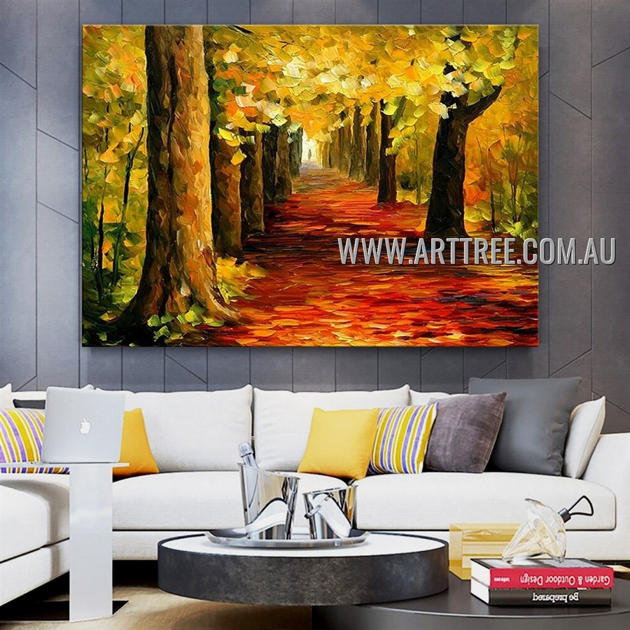 Wood Landscape Abstract Heavy Texture Artist Handmade Modern Wall Art Painting for Room Getup