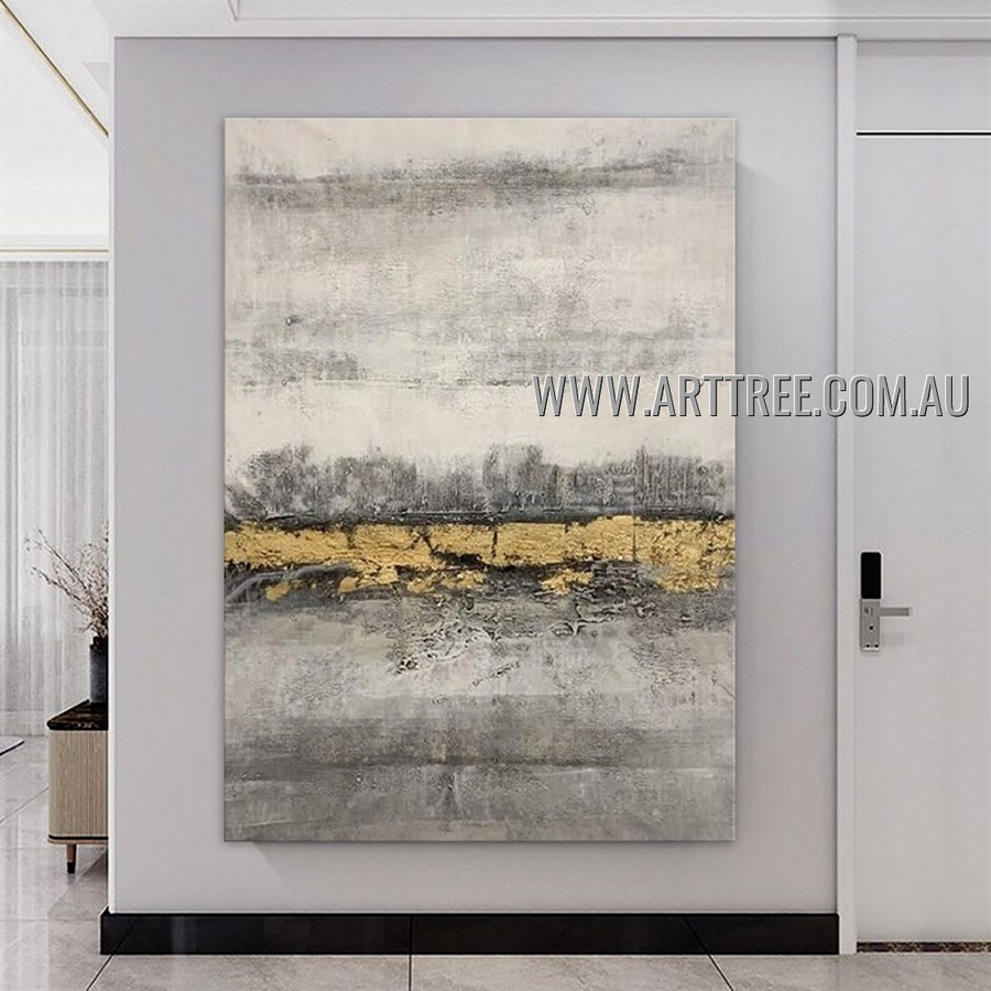 Golden Taints Abstract Heavy Texture Artist Handmade Modern Art Painting for Room Decoration