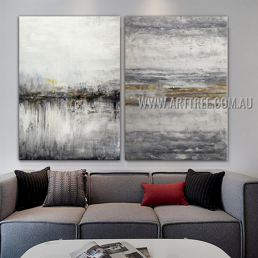 Varicolored Smirches Abstract Modern Heavy Texture Artist Handmade 2 Piece Multi Panel Wall Art Canvas Painting for Room Decoration