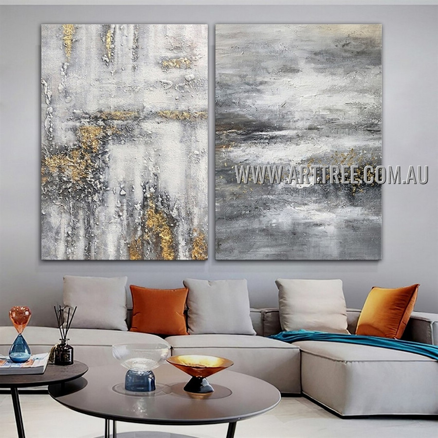 Bizarre Speckles Modern Abstract Heavy Texture Artist Handmade 2 Piece Multi Panel Wall Art Canvas Painting For Room Decoration