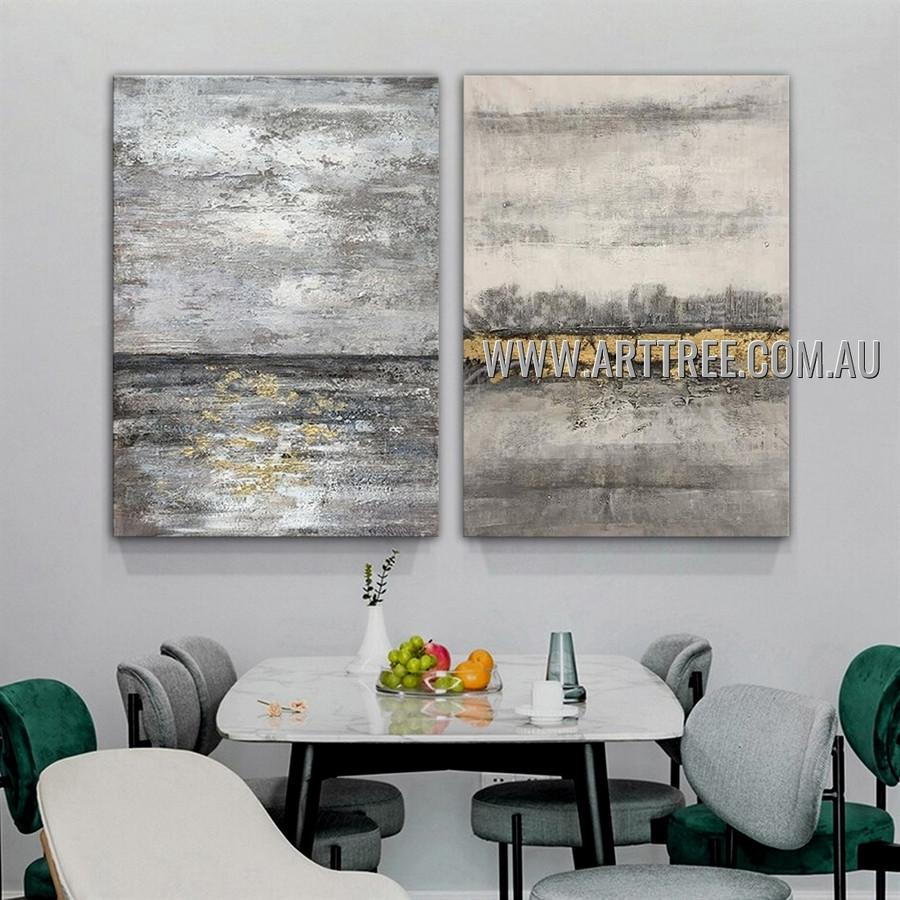 Quaint Slurs Modern Abstract Heavy Texture Artist Handmade 2 Piece Multi Panel Wall Art Canvas Painting for Room Decoration