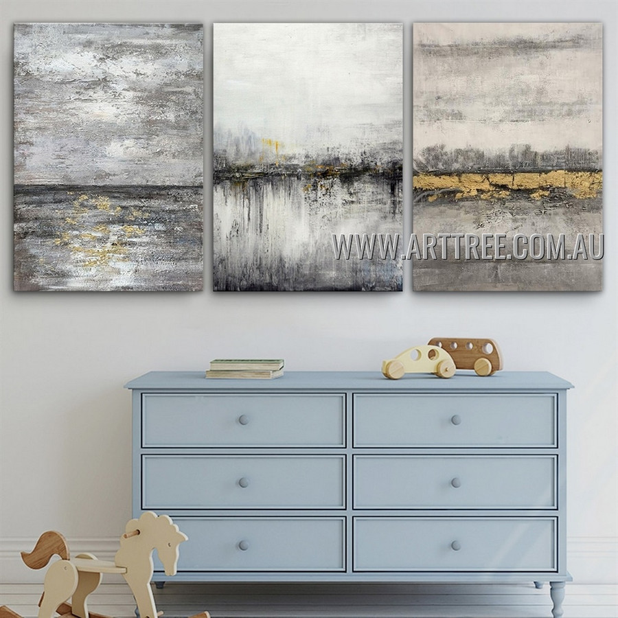 Mottled Attaints Abstract Contemporary Heavy Texture Artist Handmade 3 Piece Multi Panel Oil Painting Wall Art Set for Room Adornment
