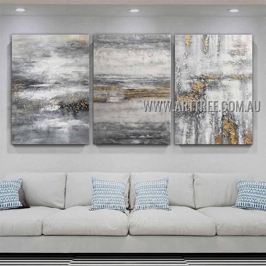 Pied Specks Abstract Modern Heavy Texture Artist Handmade 3 Piece Multi Panel Canvas Painting Wall Art Set For Room Adornment