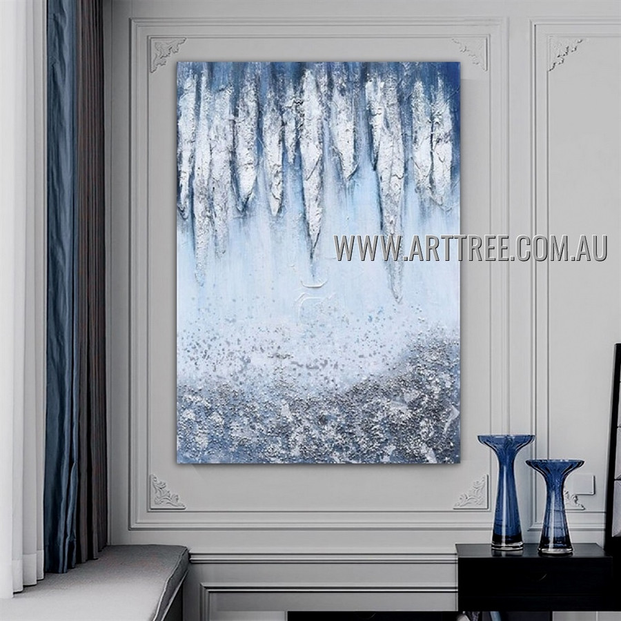 Frozen Icicles Abstract Heavy Texture Artist Handmade Contemporary Art Painting for Room Outfit
